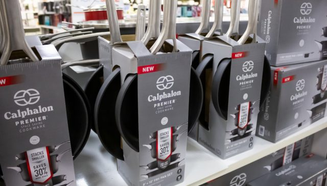 Can Calphalon pans go in the oven?| photo of rows of pans in store