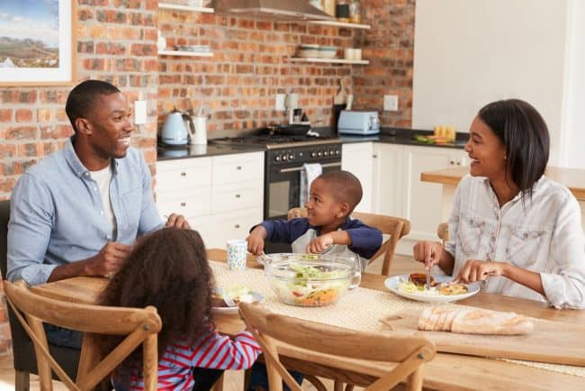 Meal Planning Made Easy | photo of family eating dinner around kitchen table