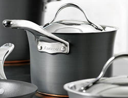 Can Anolon Pans Go in the Oven | close up photo of Anolon pot with handle